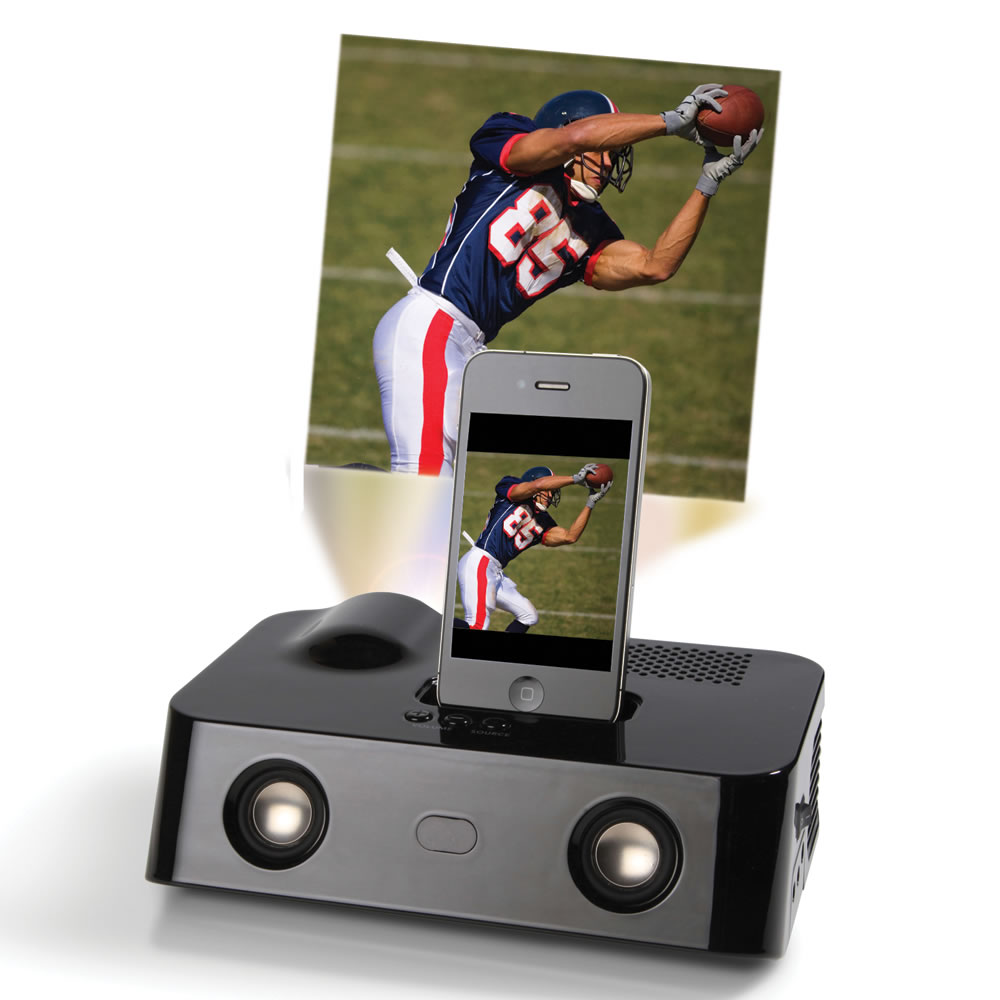 iphone movie projector the iphone projector hammacher schlemmer 12064