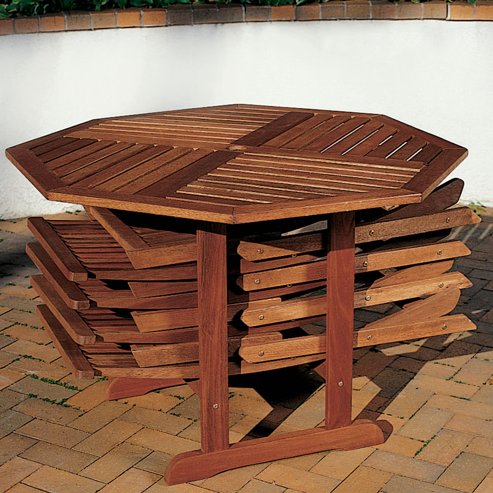 The Trestle Patio Table And Stow Away Chairs