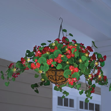 The Cordless Lighted Geranium Basket