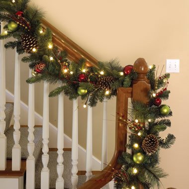 The Cordless Prelit Ornament Garland - Shown on staircase