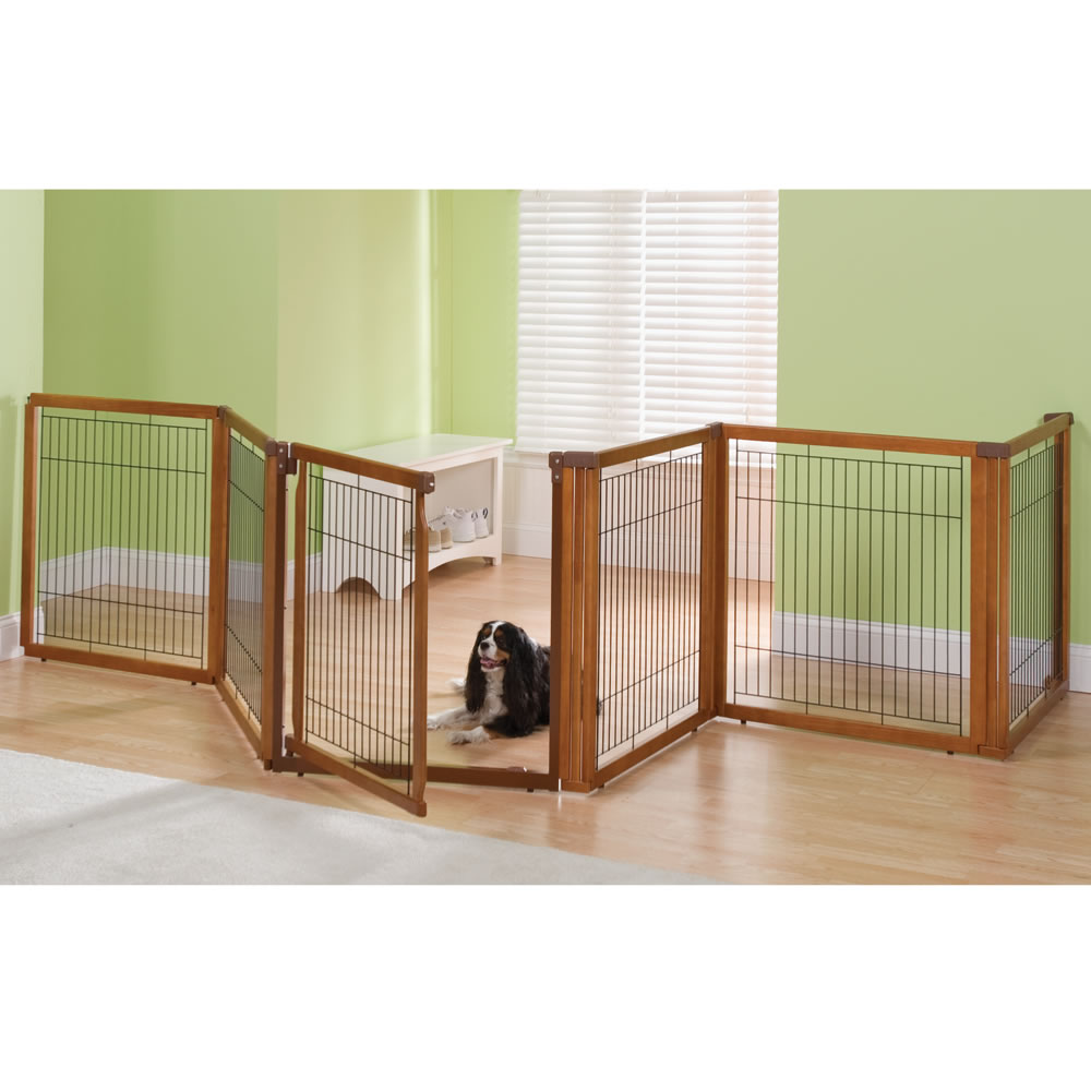 The only convertible dog gate to kennel hammacher schlemmer for Dog fence for inside house