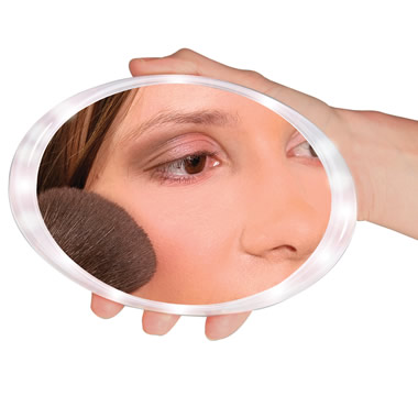 The Cordless Illuminated Magnifying Travel Mirror.