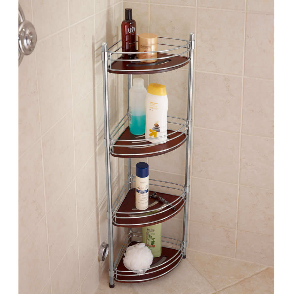 The teak and stainless steel shower organizer hammacher for Bathroom organizers