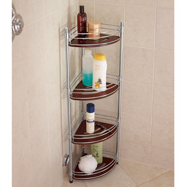 The Teak And Stainless Steel Shower Organizer