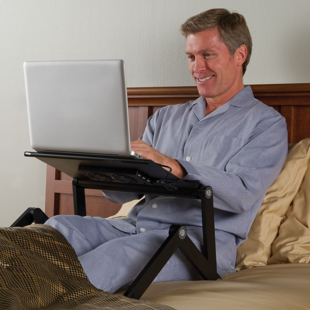 The Perfect Position Laptop Stand Hammacher Schlemmer