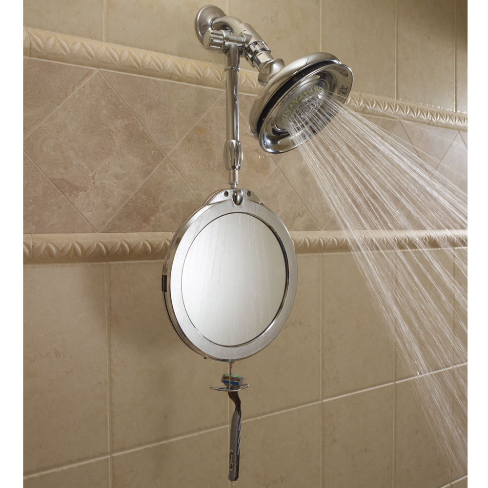 bathroom suction mirror the telescoping fogless shower mirror hammacher schlemmer 11543