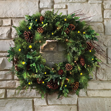 The Mixed Bough Prelit Juniper Holiday Trim (Wreath)