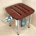 Hammacher Schlemmer Teak Shower Stool