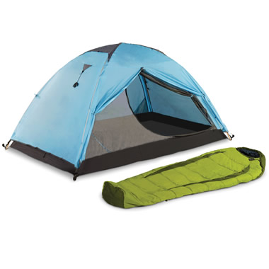 The Backpack Tent And Sleeping Bag.