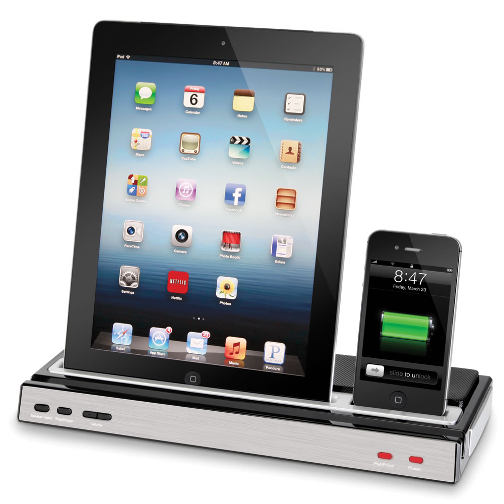 the iphone and ipad charging speaker dock hammacher schlemmer. Black Bedroom Furniture Sets. Home Design Ideas
