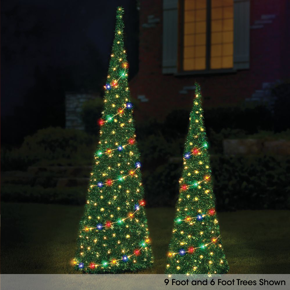 The 6 39 prelit pop up tinsel tree hammacher schlemmer How to decorate a christmas tree without tinsel