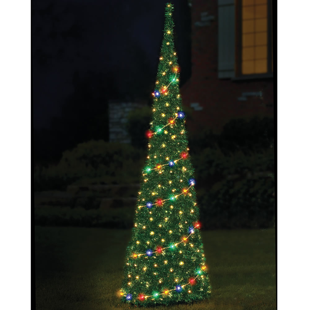the 9 prelit pop up tinsel tree - Pop Up Christmas Tree With Lights