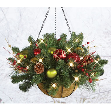 The Cordless Prelit Ornament Hanging Basket