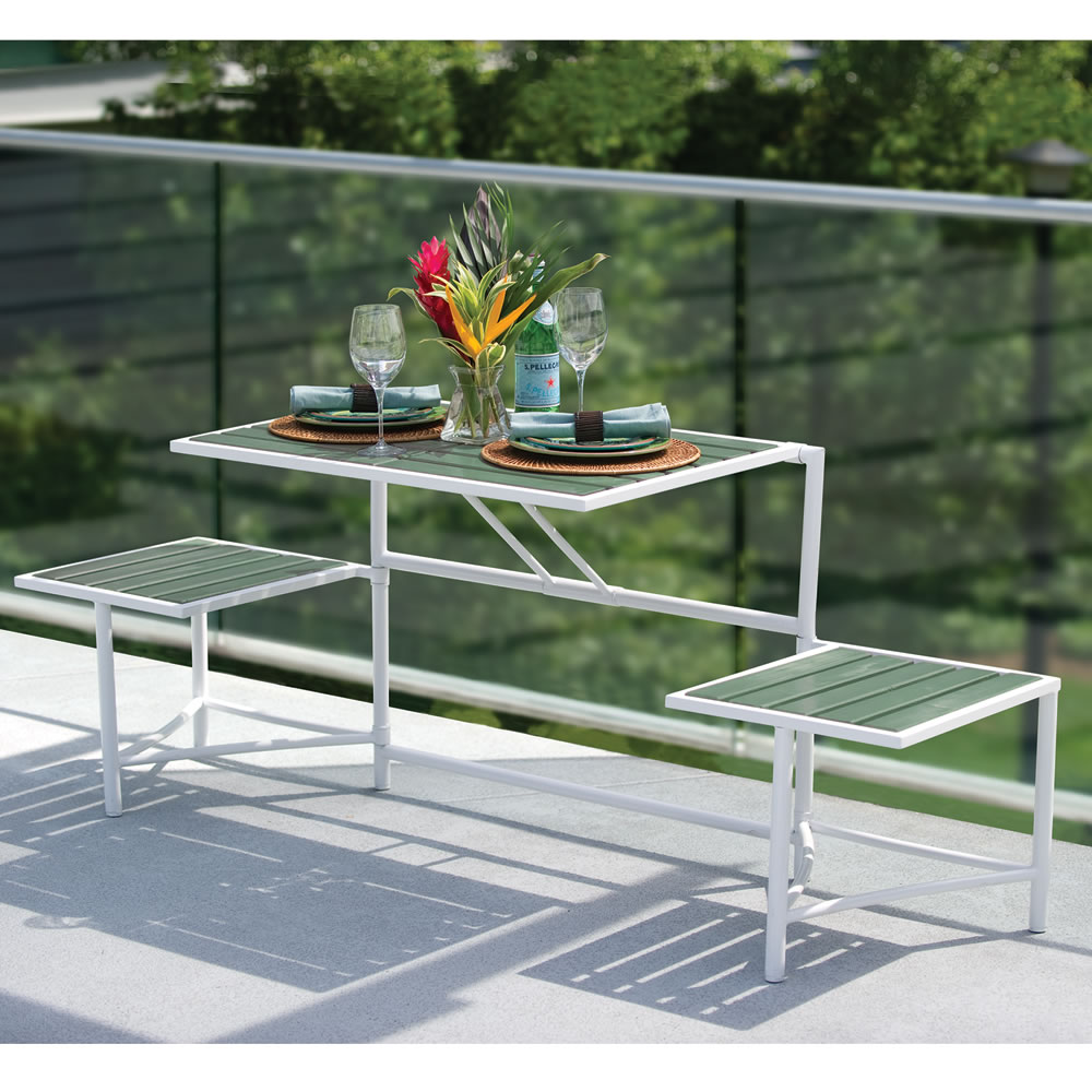 The Manhattan Balcony Convertible Bench Hammacher Schlemmer