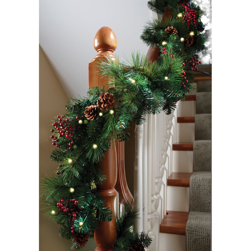 The cordless prelit shaped garland hammacher schlemmer Outdoor christmas garland ideas
