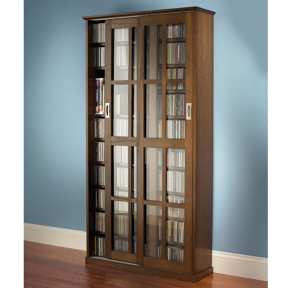 The Aficionadou0027s Sliding Door 666 CD/300 DVD Library   Hammacher Schlemmer