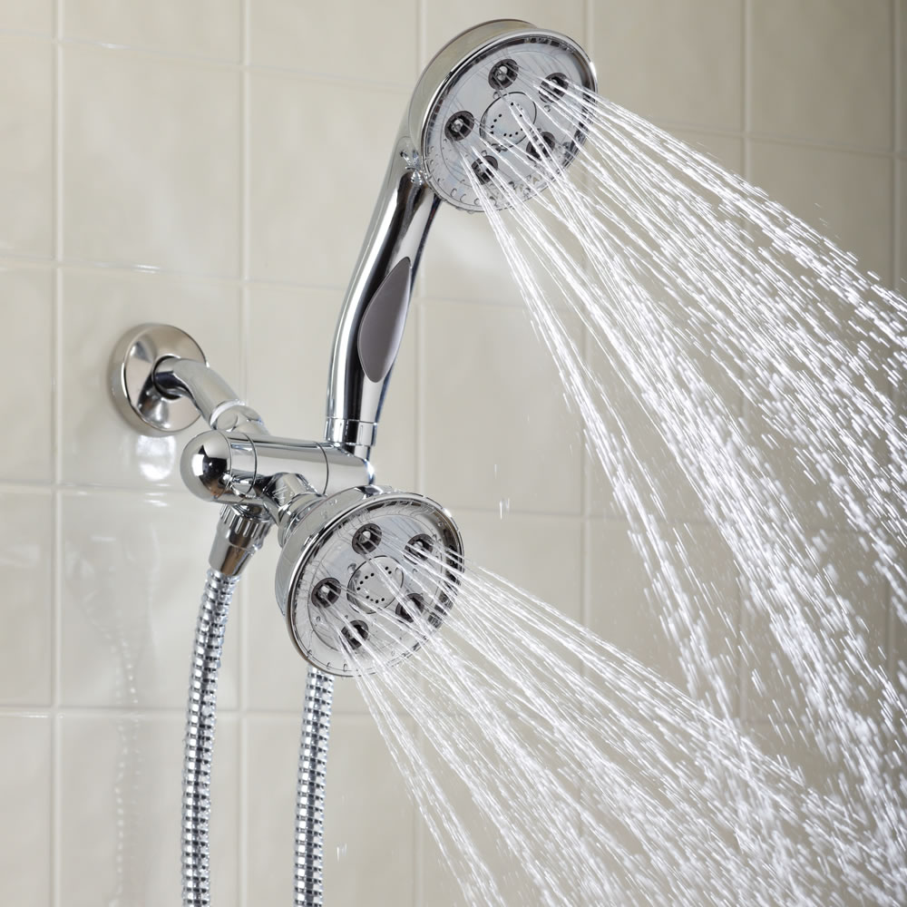 The Simultaneous Dual Spray Showerhead - Hammacher Schlemmer