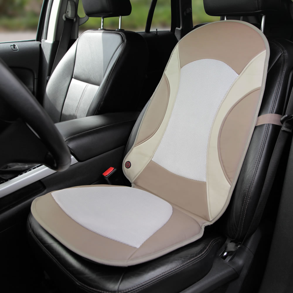 the heating or cooling car seat pad hammacher schlemmer. Black Bedroom Furniture Sets. Home Design Ideas