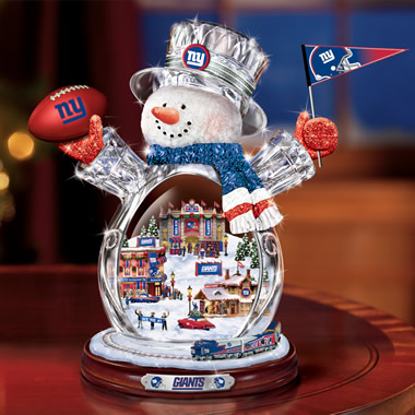 The New York Giants Crystal Snowman With Moving Train