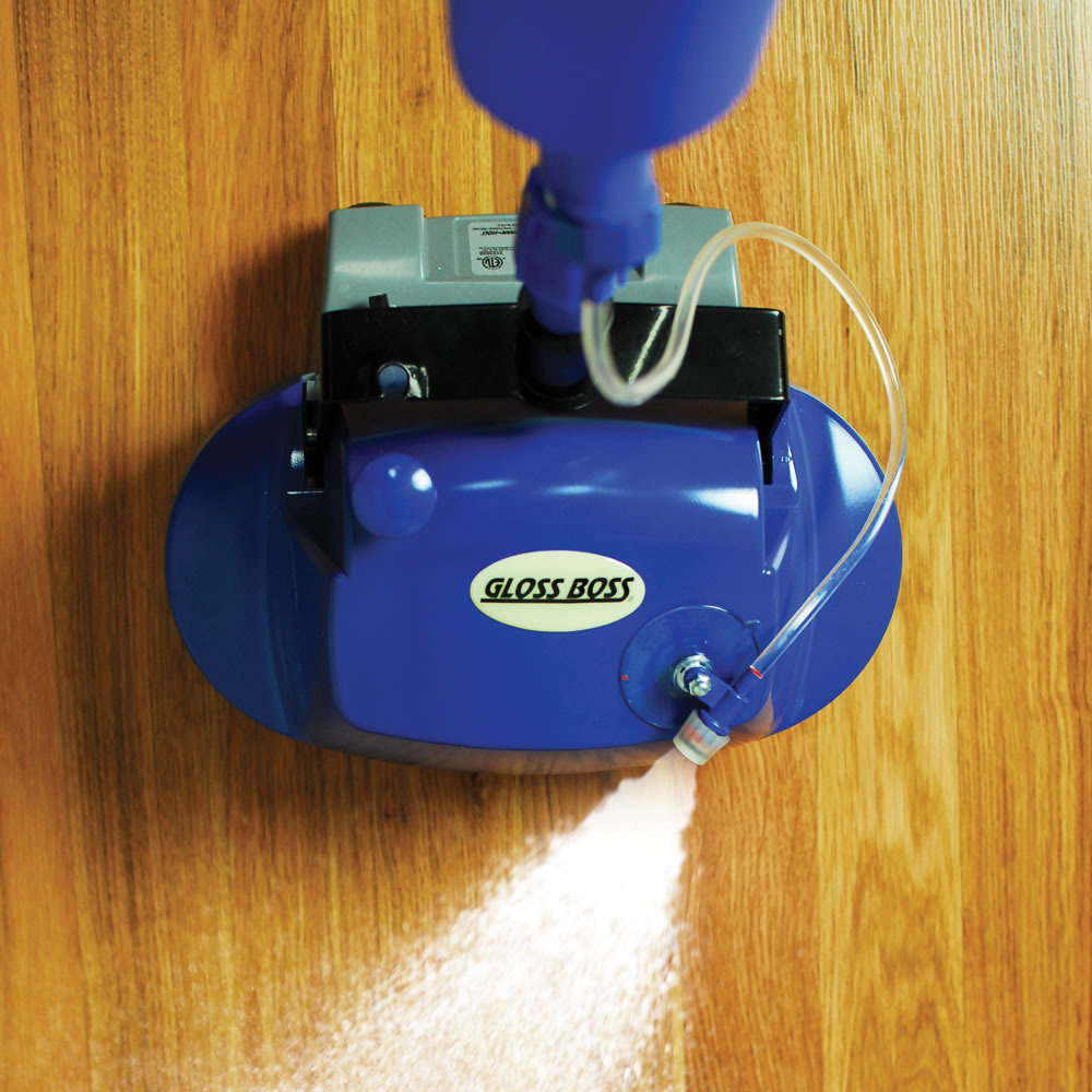 The hard floor scrubber with spray applicator hammacher schlemmer the hard floor scrubber with spray applicator dailygadgetfo Image collections