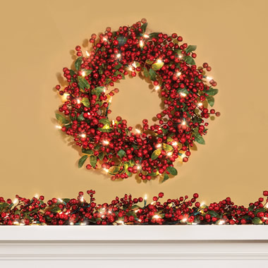 The Cordless Prelit Holly Berry Holiday Garland.