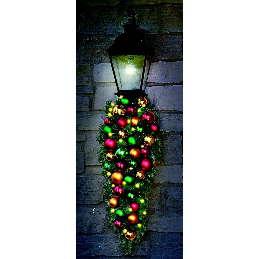 """Cordless Pre-Lit 27"""" CHRISTMAS WREATH Ornaments Holiday ..."""