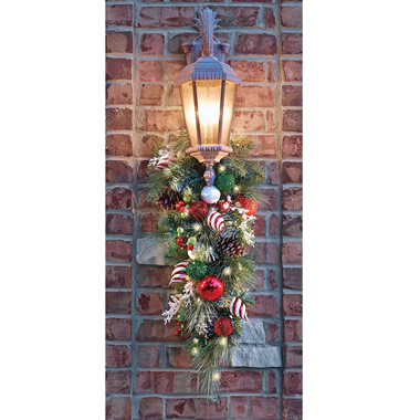 The Cordless Prelit Festive Twist Holiday Sconce.
