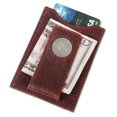 The Buffalo Nickel Leather Money Clip.