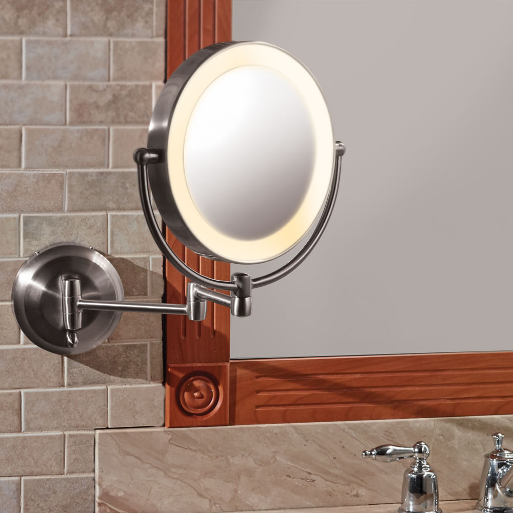 The only battery powered wall mount mirror hammacher schlemmer the only battery powered wall mount mirror amipublicfo Gallery