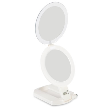 The 1X and 10X Flat Fold Travel Mirror.