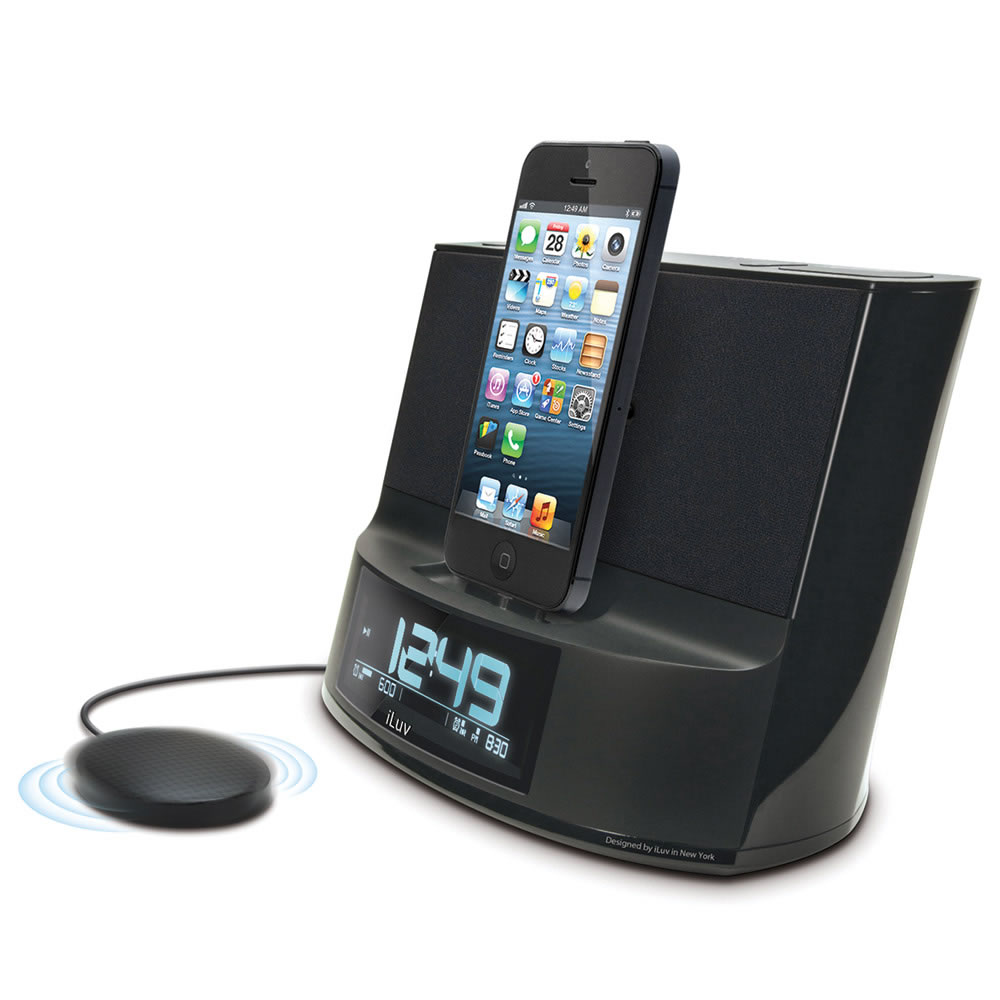 iphone docking station with speakers the iphone 5 clock radio hammacher schlemmer 17638