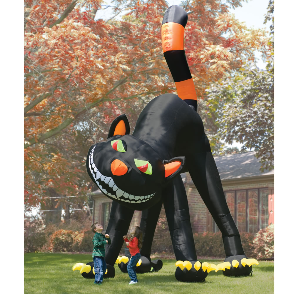 The Two Story Inflatable Black Cat Hammacher Schlemmer