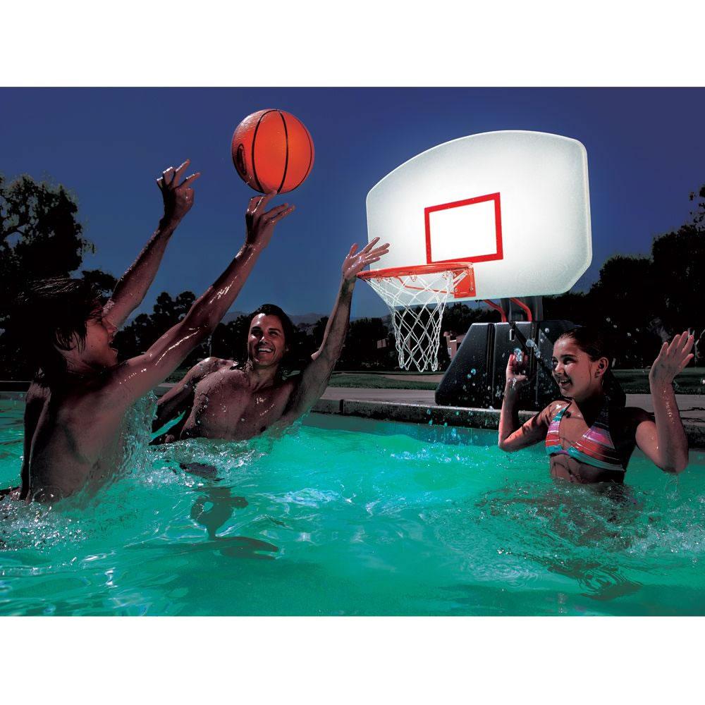 The lighted poolside basketball hoop hammacher schlemmer - Basketball goal for swimming pool ...
