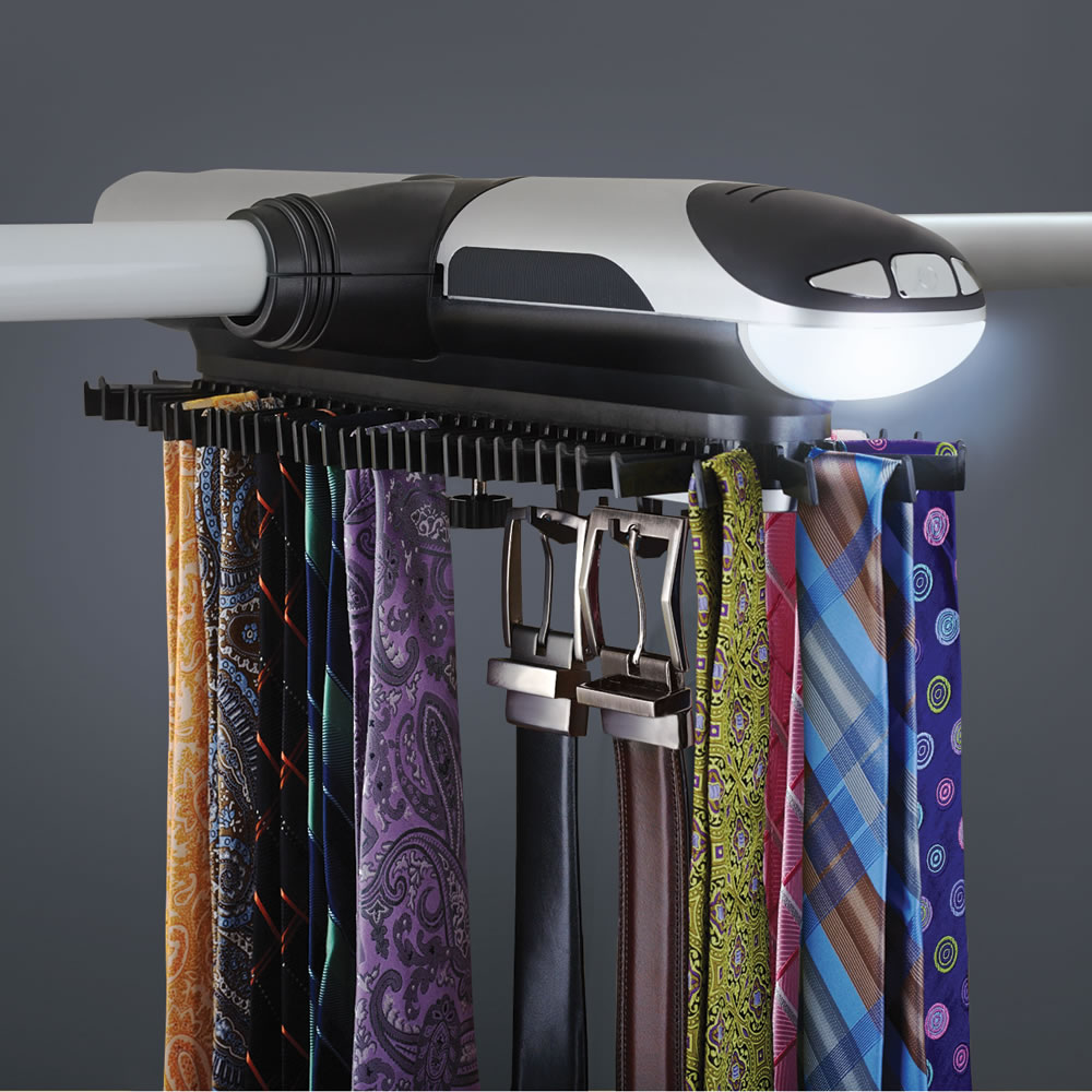 The Motorized Tie Rack Hammacher Schlemmer