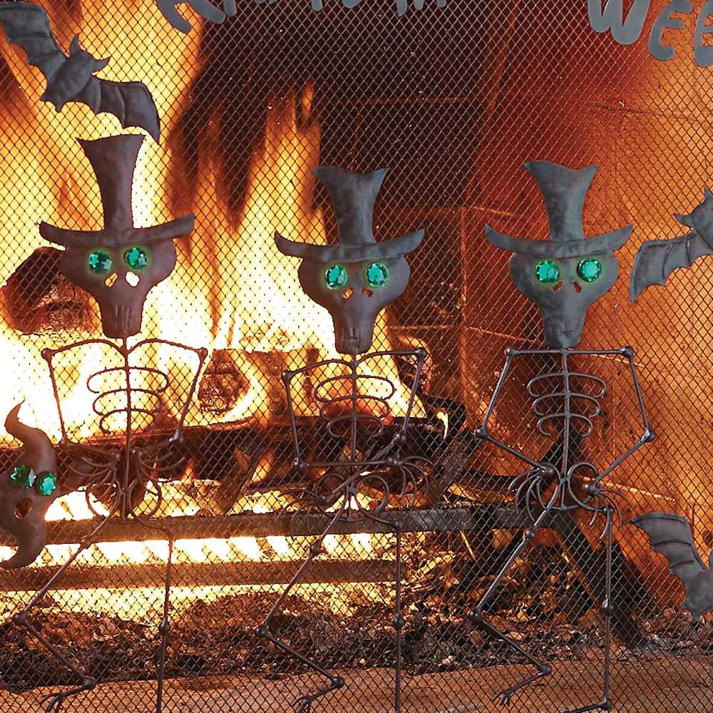 the halloween fireplace screen hammacher schlemmer