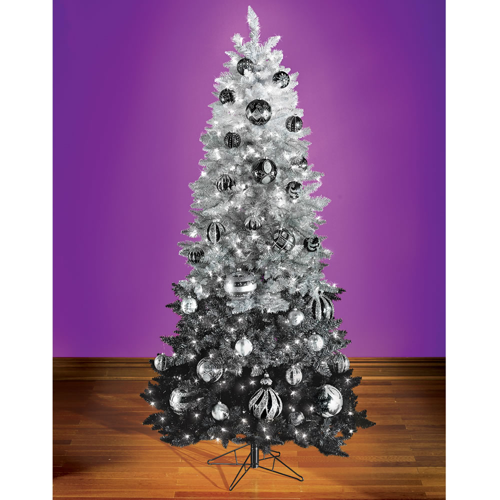 the black ombré decorated christmas tree hammacher schlemmer