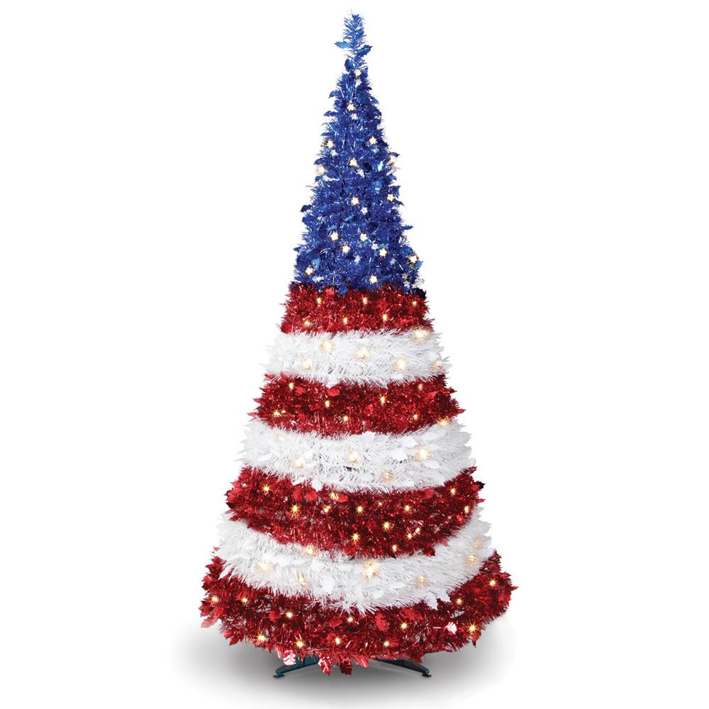 the prelit pop up patriot tree - Pop Up Christmas Tree With Lights