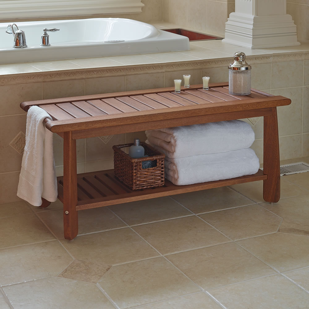 The Brazilian Eucalyptus Bathroom Bench - Hammacher Schlemmer