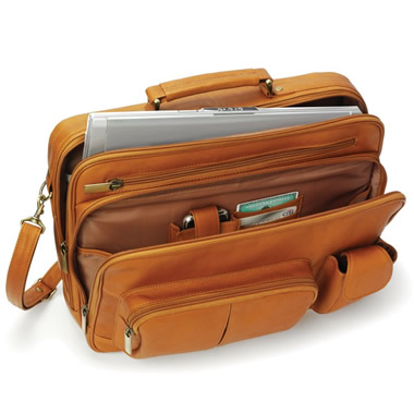The Organized Traveler's Leather Laptop Bag - Shown in tan