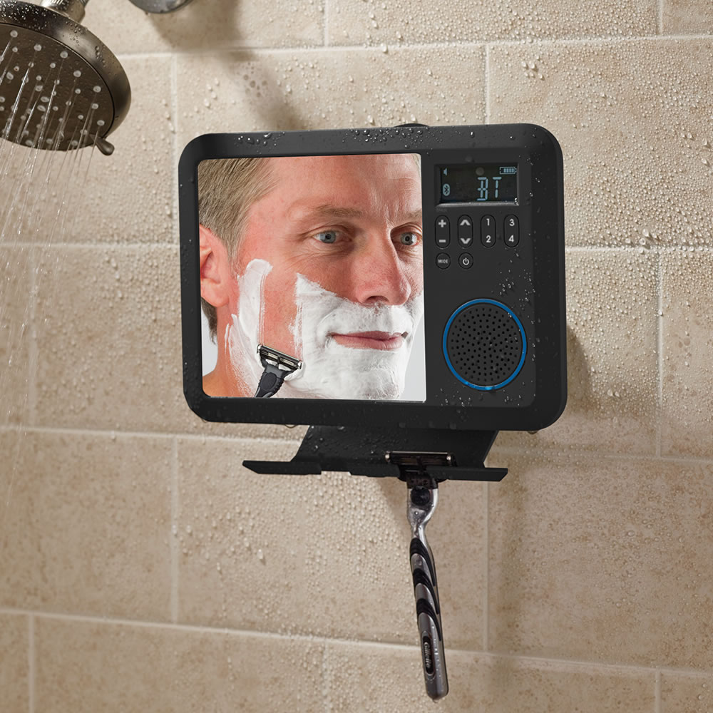 The Only Bluetooth Shower Mirror Radio - Hammacher Schlemmer