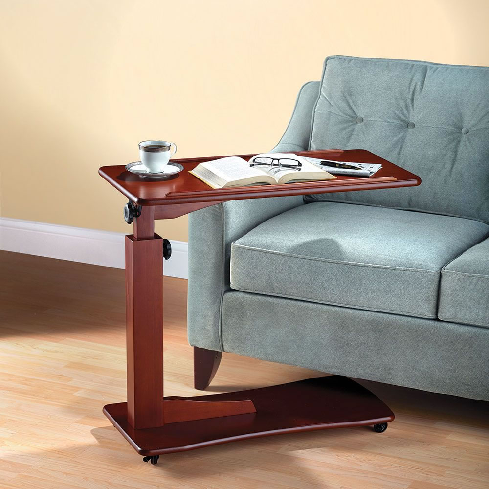 The Adjustable Height Side Table Hammacher Schlemmer