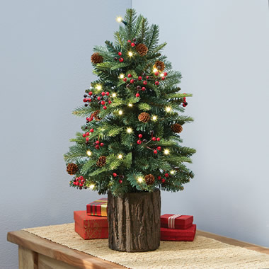 The Tabletop Prelit Christmas Tree - Shown on tabletop
