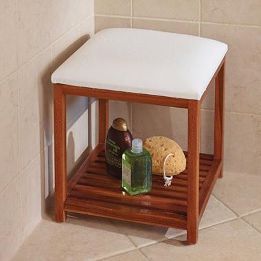 The Cushioned Teak Shower Stool.