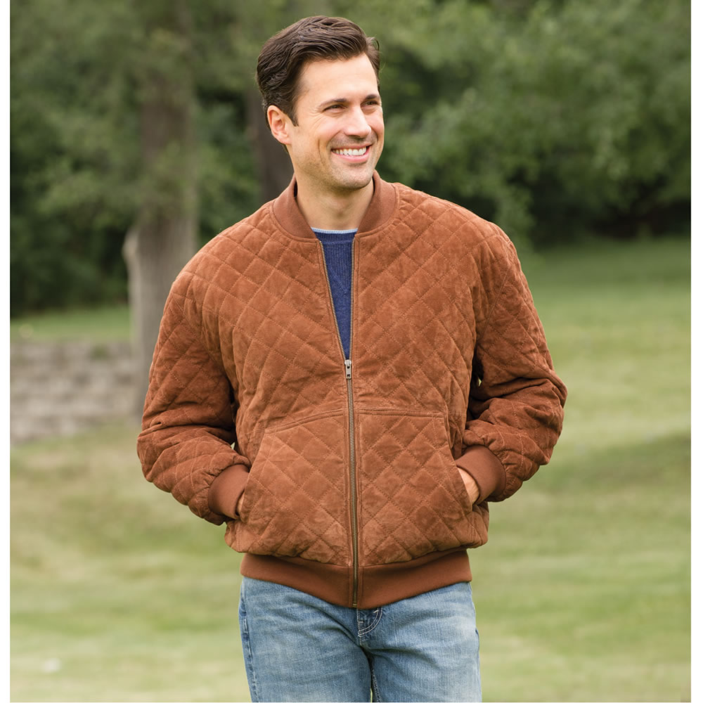 The Washable Quilted Suede Bomber Jacket - Hammacher Schlemmer