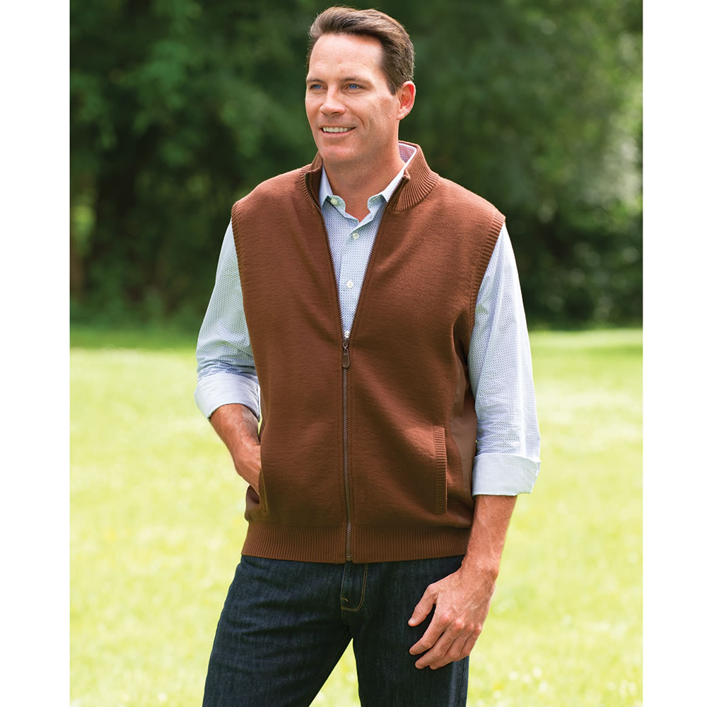 The Gentlemen's Washable Merino Wool Vest - Hammacher Schlemmer