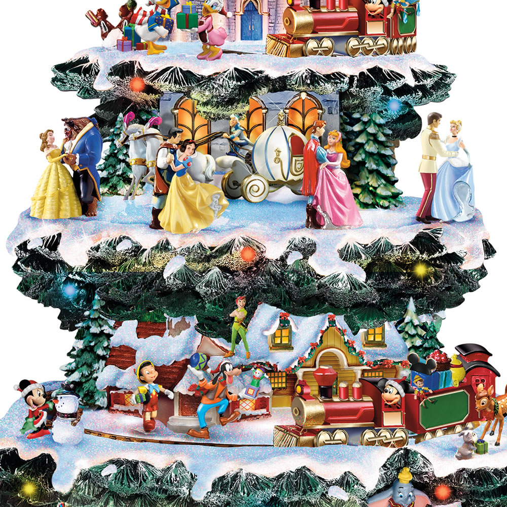 the disney christmas carousel tree close up of train