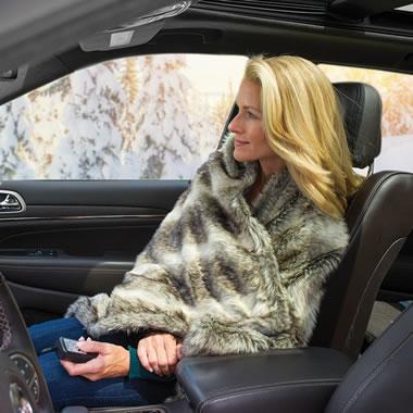 Faux Fur Heated Auto Blanket