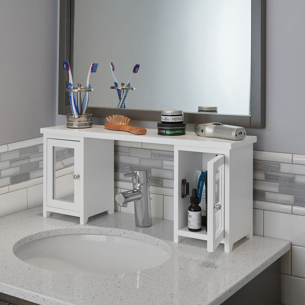 Over The Sink Organizer Storage Bath Vanity Adjustable Shelf