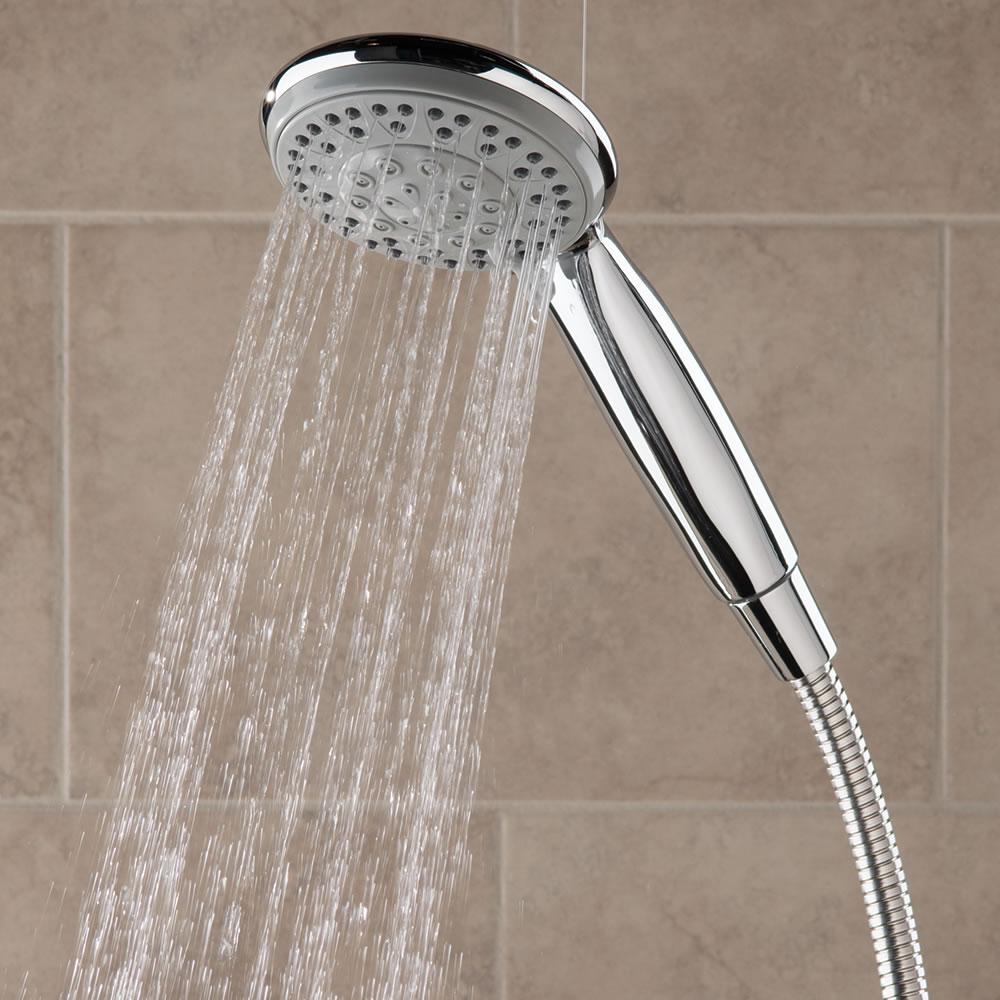 The Superior Pressure Boosting Handheld Showerhead - Hammacher ...