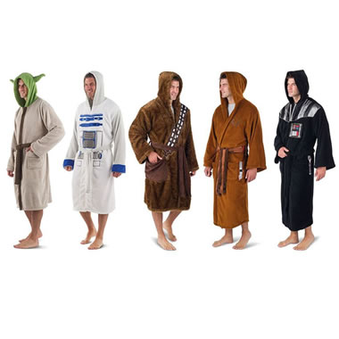 The Star Wars Fleece Robe - 5 character robes shown